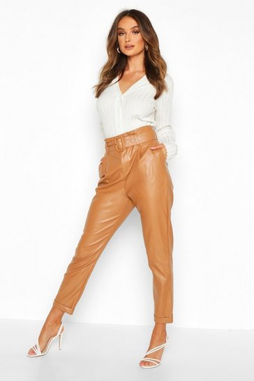 Womens Sand Leather Look Belted Tapered Trouser