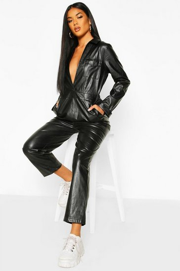 Womens Black Leather Look Pocket Detail Boiler Suit