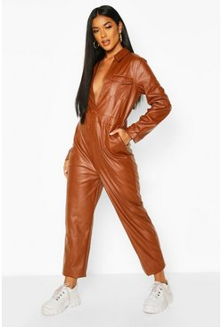 Womens Chocolate Leather Look Pocket Detail Boiler Suit