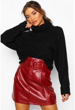 Womens Berry Leather Look Belted Mini Skirt