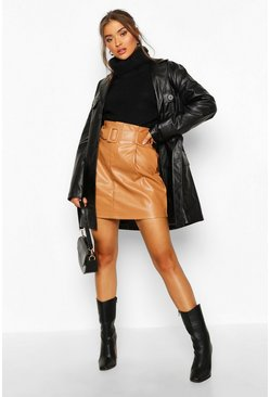 Womens Sand Leather Look Belted Mini Skirt