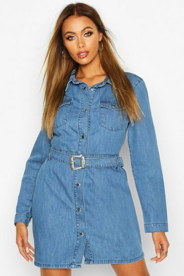 Dark blue Long Sleeve Western Belted Denim Bodycon Dress