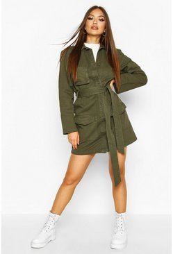 Khaki Belted Utility Button Denim Dress