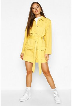 Womens Mustard Belted Utility Button Denim Dress
