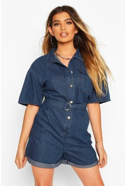 Womens Dark blue Belted Button Denim Playsuit