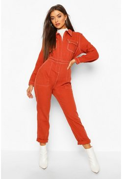 Womens Rust Pocket Contrast Stitch Denim Boilersuit