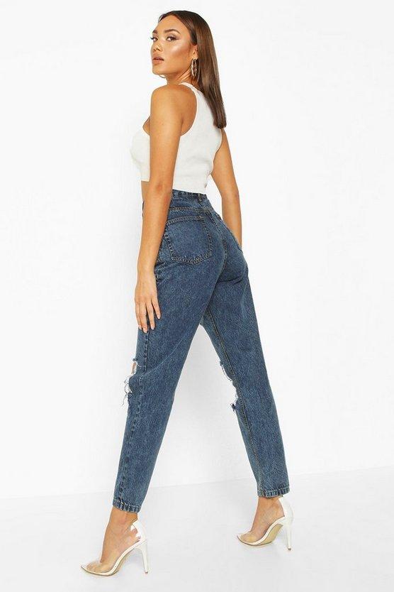 Acid Wash Distressed Mom Jeans