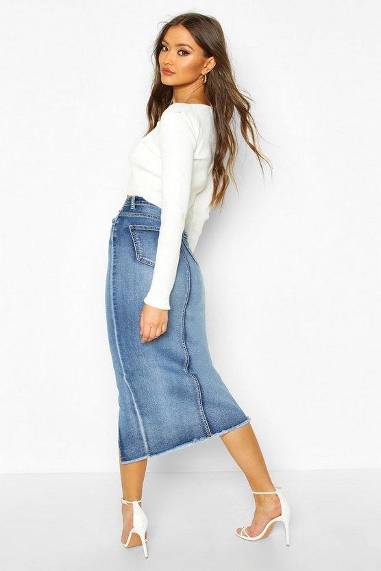 Slit Front Midi Skirt