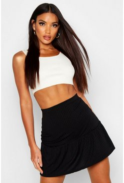 Womens Black Ribbed Frill Hem Mini Skater Skirt