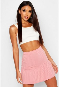 Blush Ribbed Frill Hem Mini Skater Skirt