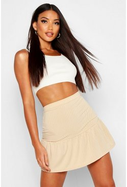 Womens Sand Ribbed Frill Hem Mini Skater Skirt