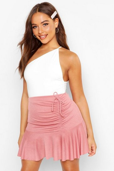 Womens Rose Ruched Frill Mini Skirt