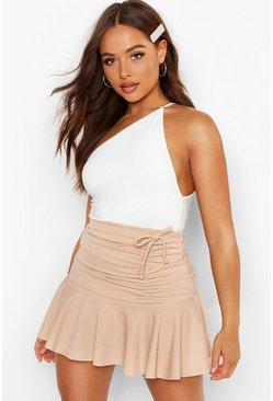 Womens Sand Ruched Frill Mini Skirt