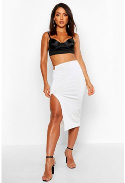 Womens Ivory O-Ring Extreme Thigh Split Midi Skirt