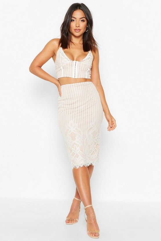 Womens Ivory Lace Stripe Midi Skirt