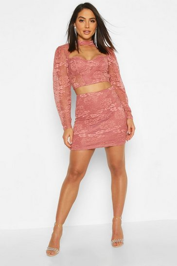 Womens Terracotta Lace Detail Midi Skirt