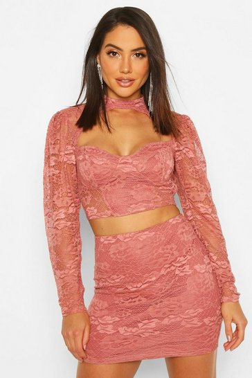 Womens Terracotta Lace Cut Out Top