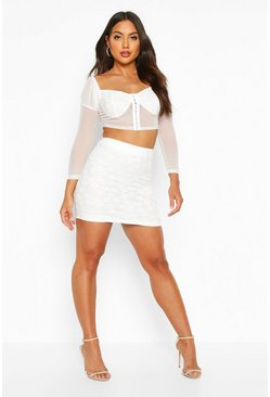 Womens Ivory Lace Detail Mini Skirt