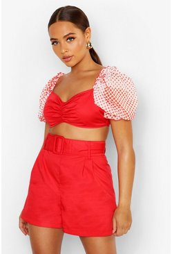 Red Belted Tailored Short