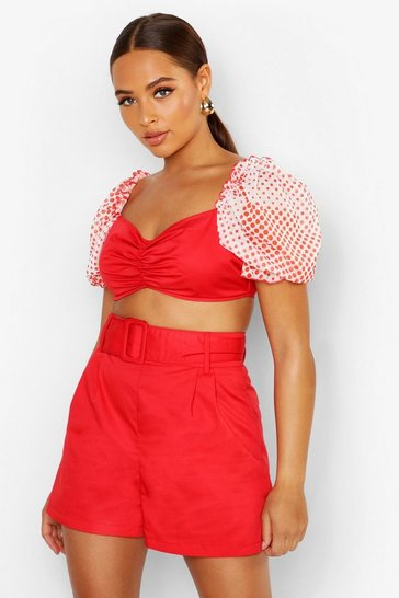 Womens Red Belted Tailored Short