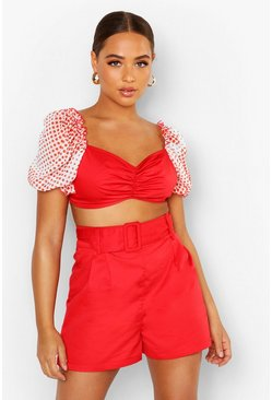 Red Spot Print Volume Sleeve Ruched Bralet