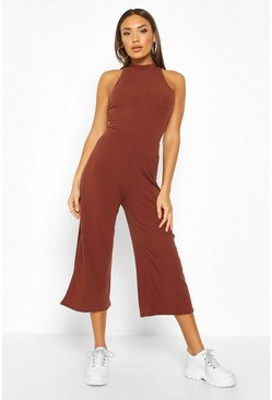 Chocolate Soft Rib Racer Back Top & Culotte Co-Ord