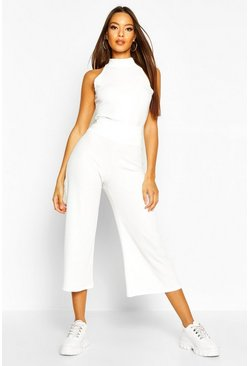 Soft Rib Racer Back Top & Culotte Co-Ord, Ecru, Donna
