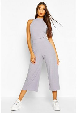 Dam Grey Soft Rib Racer Back Top & Culotte Co-Ord