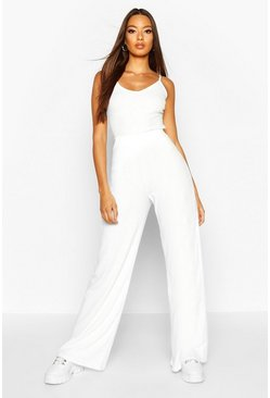 Womens Ecru Soft Rib Cami & Wide Leg Trouser Co-Ord