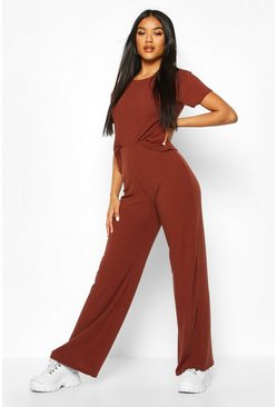 Womens Chocolate Soft Rib T-Shirt & Wide Leg Trouser Co-Ord