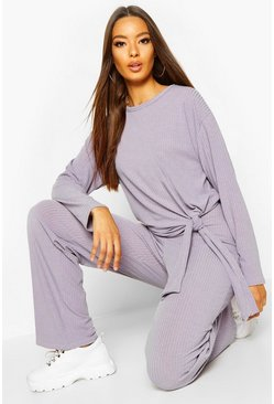 Dam Grey Slouchy Rib Tie Top & Trouser Co-Ord