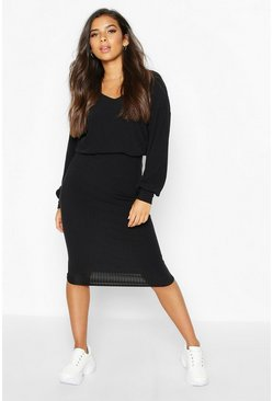 Womens Black Ribbed V Neck Top & Midaxi Skirt Co-Ord