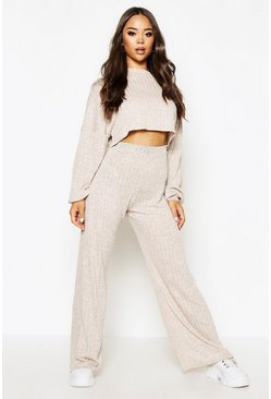 Beige Oversized Slouchy Rib Cropped Top & Wide Leg Trouser Co-Ord