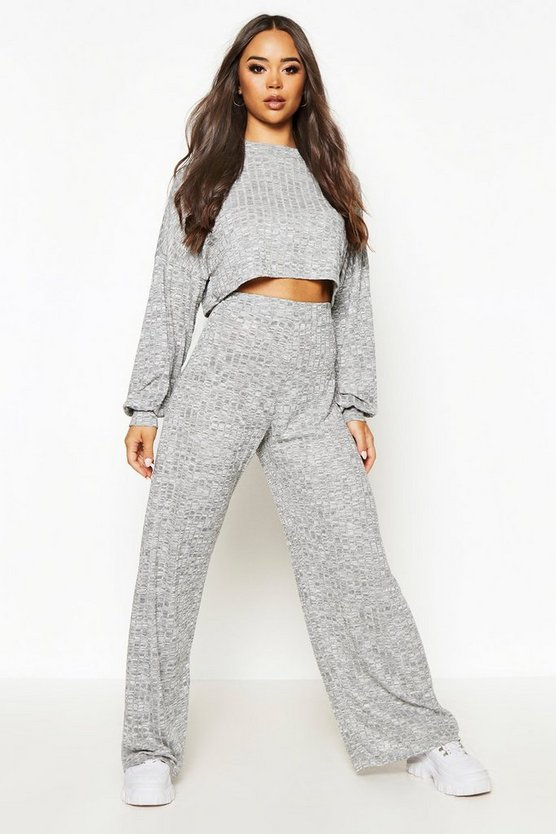 Grey Oversized Slouchy Rib Cropped Top & Wide Leg Trouser Co-Ord