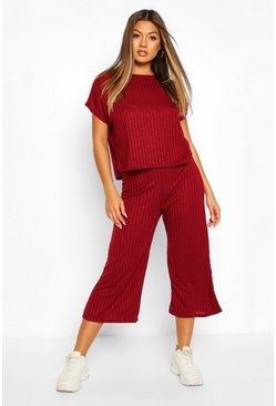 Berry Rib Slouchy Top & Culotte Co-Ord