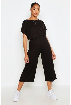 Womens Black Rib Slouchy Top & Culotte Co-Ord