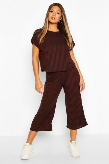 Chocolate Rib Slouchy Top & Culotte Co-Ord