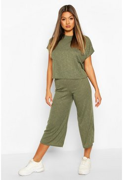 Rib Slouchy Top & Culotte Co-Ord Set, Khaki