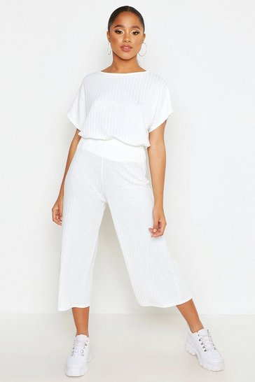 Womens White Rib Slouchy Top & Culotte Co-Ord