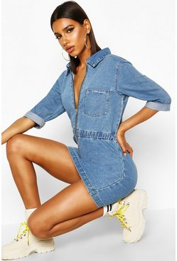Blue Zip Up Denim Dress