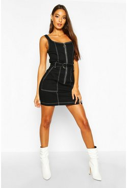 Black Contrast Stitch Belted Denim Bodycon Dress