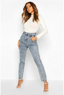 Mid blue High Waist Seam Detail Mom Jean