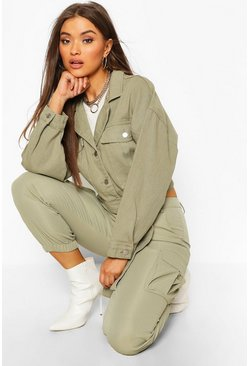 Womens Khaki Utility Tie Crop Denim Jacket