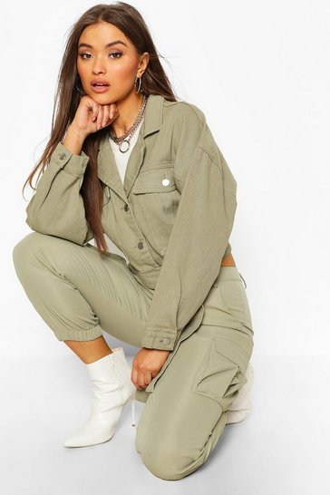 Khaki Utility Tie Crop Denim Jacket
