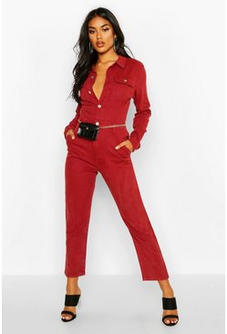 Womens Wine Denim Boilersuit