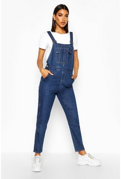 Dark blue Stonewashed Boyfriend Denim Overall
