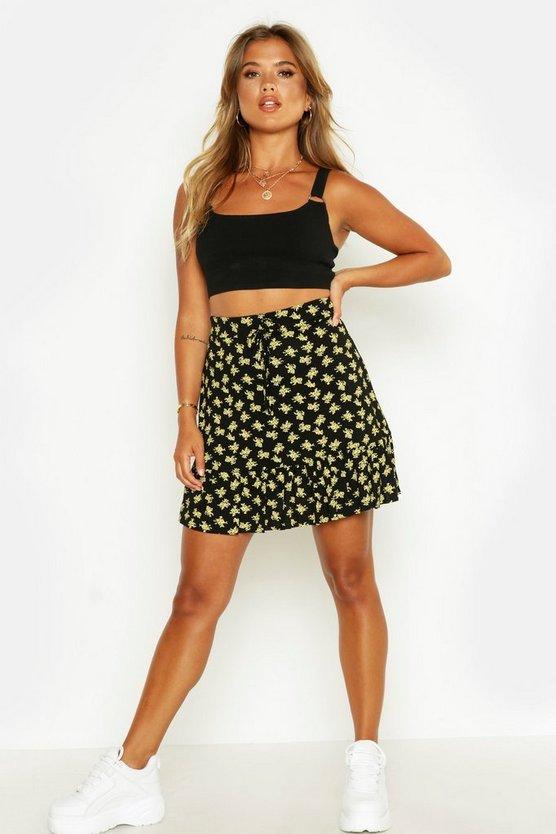 Ditsy Floral Tiered Hem Mini Skirt