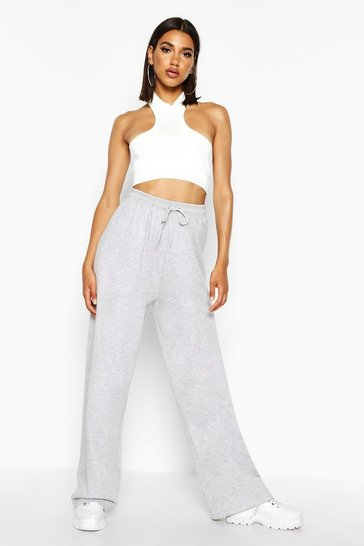 Womens Grey marl The Wide Leg Loopback Jogger
