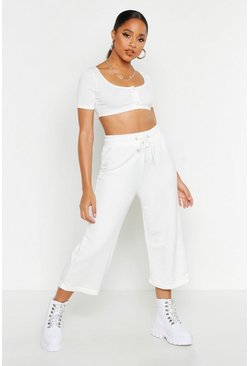 Womens Ivory The Wide Leg Loopback Culotte