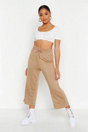 Womens Stone The Wide Leg Loopback Culotte